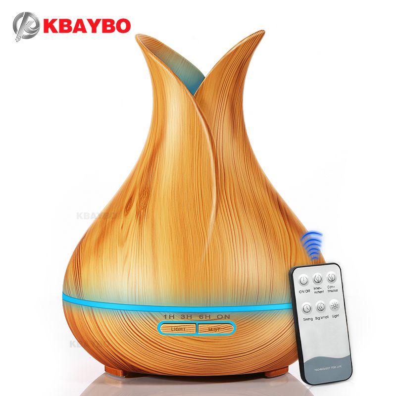 Humidificateur d'air ultrasonique de diffuseur d'huile essentielle d'arome de KBAYBO 400ml avec le Grain en bois 7 lumières de LED à couleur changeante pour la maison de bureau
