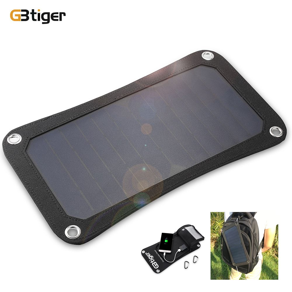 GBtiger 7W Portable Sunpower Solar Charger Panel Power Emergency Water Resistant Folding Bag for Phone