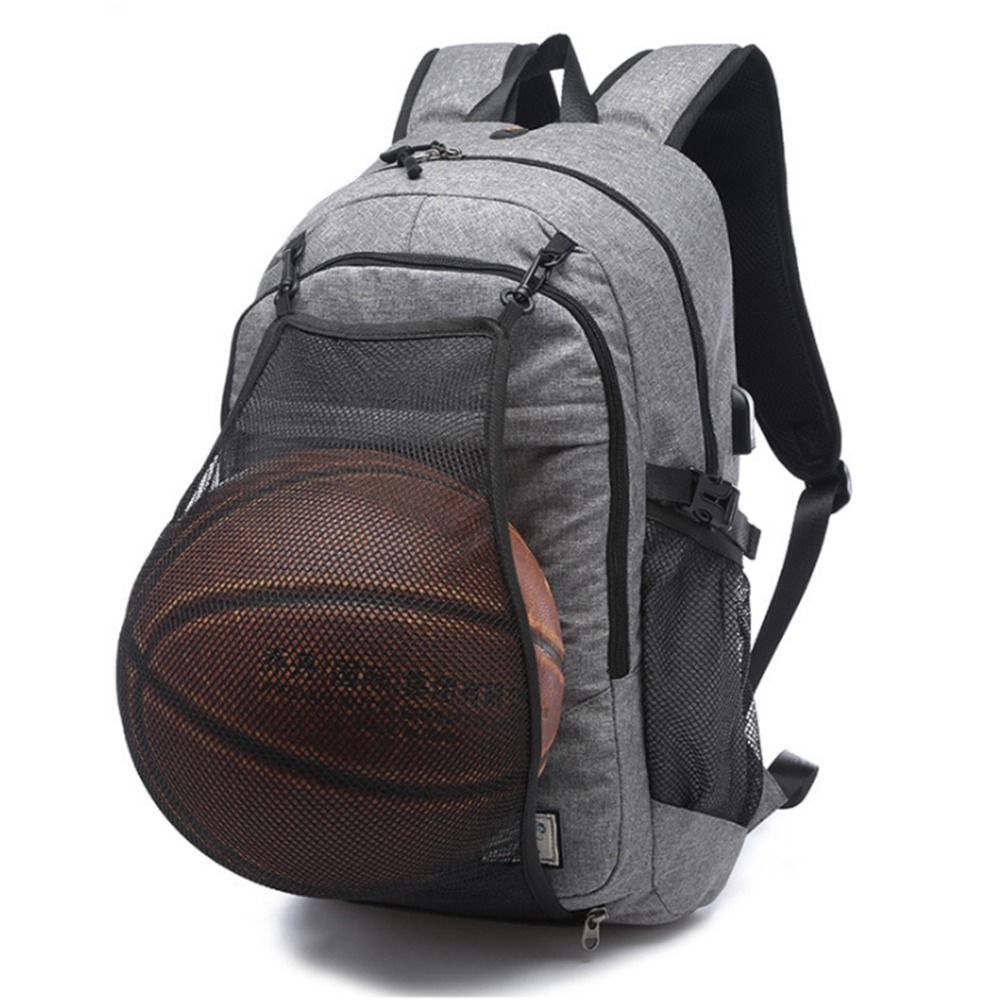 Multifunction Basketball Backpack Man SportS Bag Gym Bag 15.6 Inch Laptop with Basketball Net USB Charging Port Male Bag