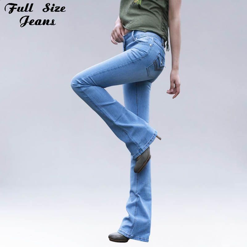 Удлиненные Flare Длина Капри Джинсы для женщин для высоких Для женщин 102 см супер длинные шаровары Жан над Длина повседневные джинсы