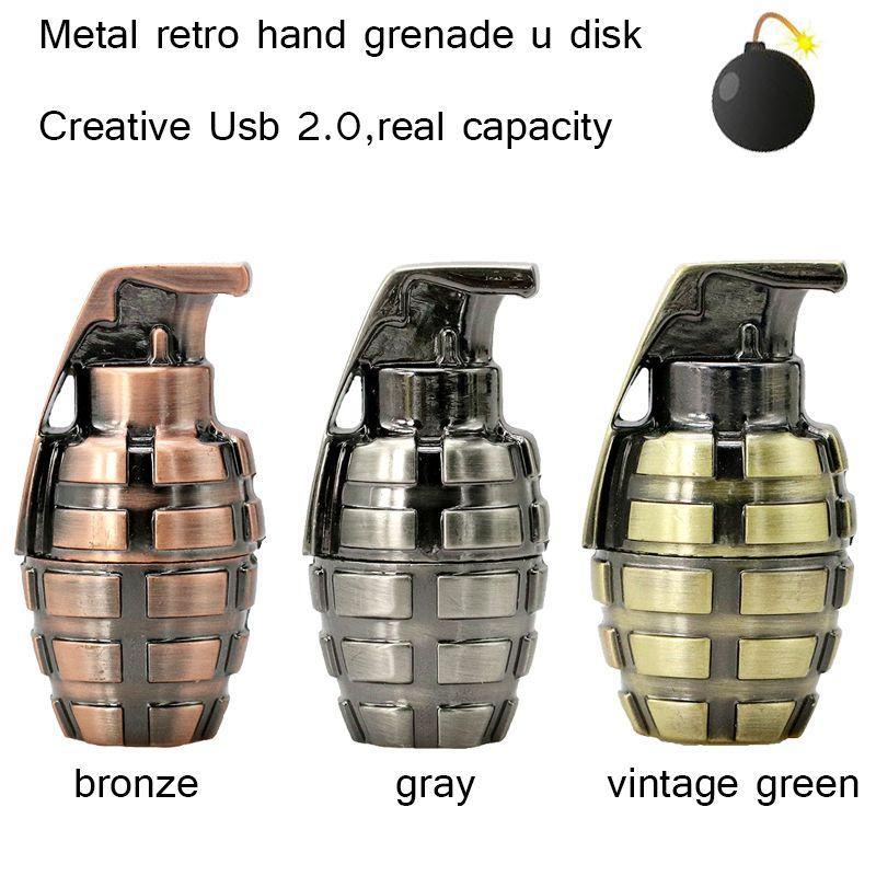 Nouvelle Mini en métal rétro grenade à main USB Flash drive 64 gb usb 2.0 pen drive16GB flash memory stick u Disque stylo lecteur 32 gb pendriver