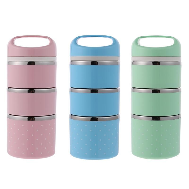 Portable 3 Layers 1380ML Stainless Steel Bento Lunch Box Food Storage Box Insulated Lunchbox Thermal School Food Container