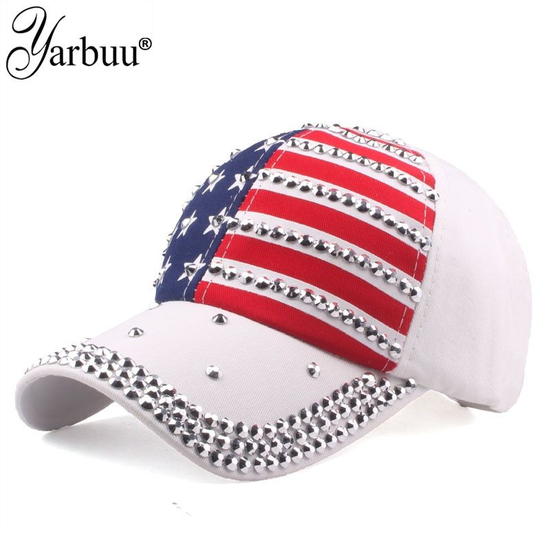 [YARBUU] High Quality USA Flag Baseball Cap Men Women Eagle Snapback Bone Casual Sun Golf Hat rhinestone star Denim cap hat