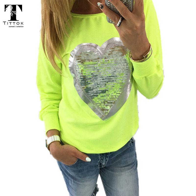 2017 mode automne t shirt femmes coeur haut à paillettes col rond forme de coeur blusa à manches longues femme dessus de chemise dames t-shirts