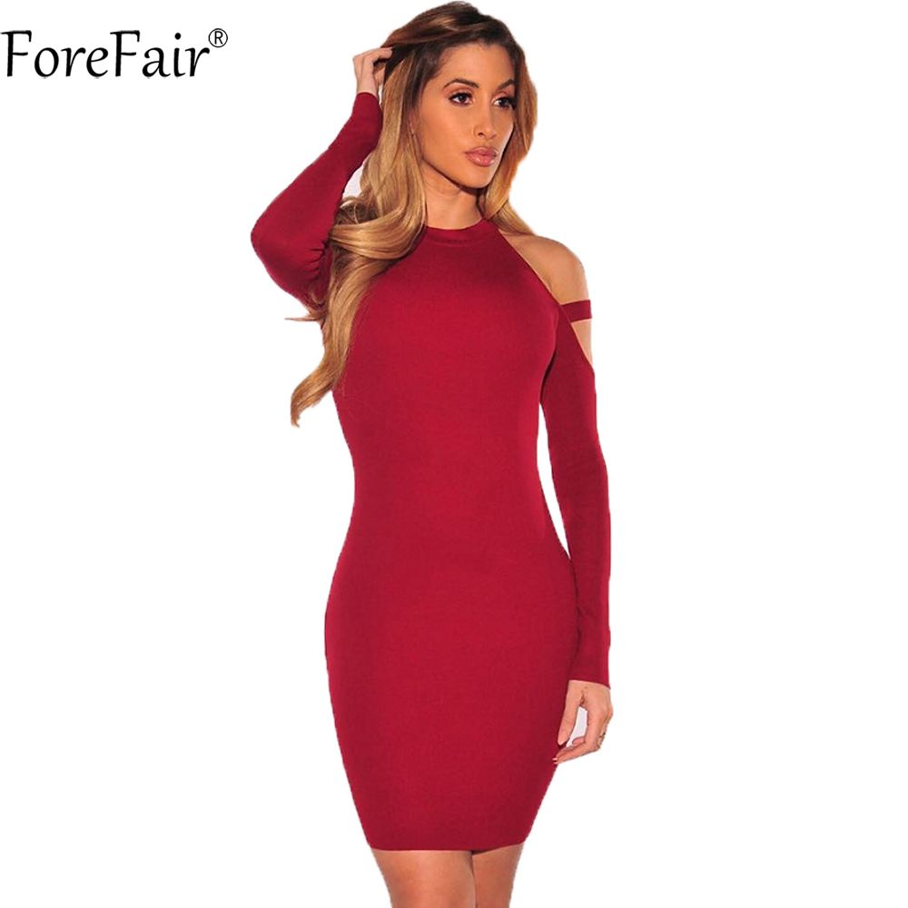 ForeFair Automne Hiver Sexy Off Épaule Club Party Robes Femmes Manches Longues Élastique Mince Occasionnel Moulante Robe