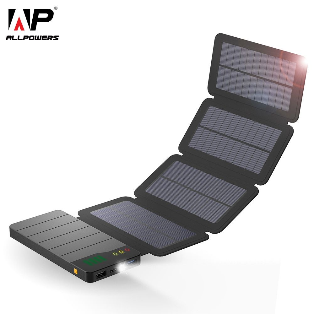 ALLPOWERS 10000mAh Power Bank Waterproof Solar Charger External Battery Backup Pack for Phone Tablets Loptops Bluetooth Camera