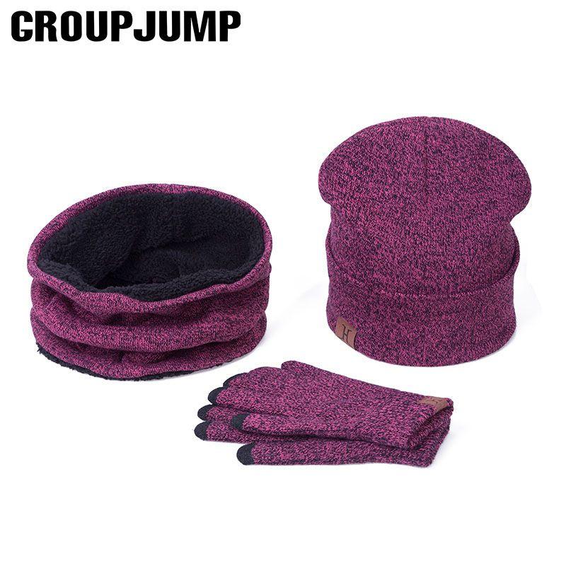 GROUP <font><b>JUMP</b></font> Scarf Hat Gloves Set Women Letter Hat Scarf Gloves Solid Color Winter Hat Scarf&Gloves For Men Cotton 3 Pieces Set