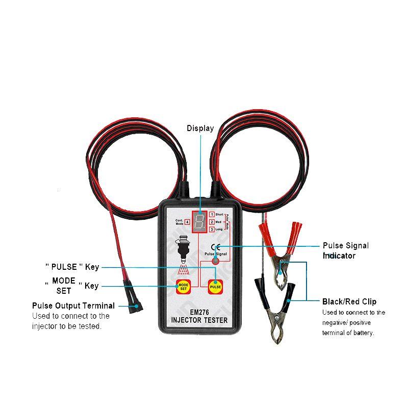 Fuel Injector Tester Automotive Fuel Pump System Analyzer 4 Pulse Modes Allsun EM276 Injector <font><b>Pressure</b></font> Gauge