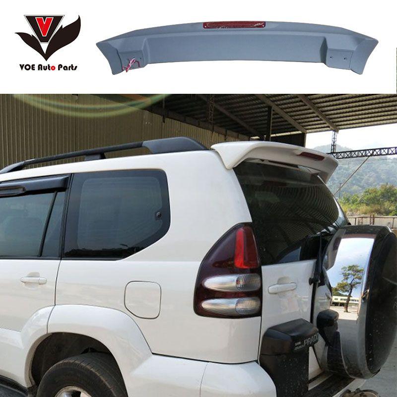 FJ120 4000 2700 ABS Plastic Material Unpainted Primer Rear Wing Spoiler With LED for 2003-2009 Toyota Prado FJ120 4000 2700
