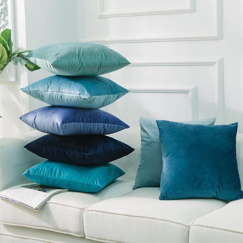Velours solide housse de coussin doux décoratif taie d'oreiller 45X45 60X60CM Vintage canapé chaise coussin couvre blanc, bleu funda cojin