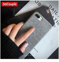 SoCouple Tissu Texture Tpu cas Pour iphone 7 8 7/8 plus cas Ultra-mince Toile Silicone Téléphone Cas Pour iphone 6 6 S Plus X