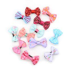 10 pcs/Lot Kecil Mini Bow Barrettes Manis Gadis Padat Dot/Kupu-kupu Simpul Seluruh Dibungkus Keselamatan Rambut Klip Anak Kecantikan jepit