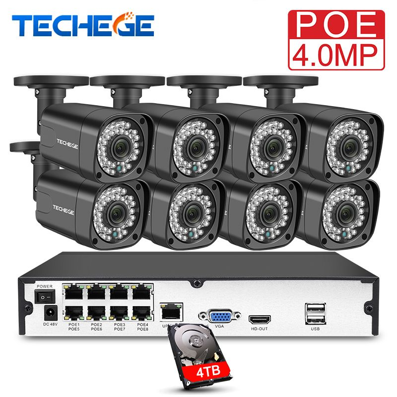 Techege 8CH h.265 4MP Video Camera System Kit 8PCS IP Camera 2560*1440 Waterproof Outdoor Surveillance Kit PoE Surveillance Kit