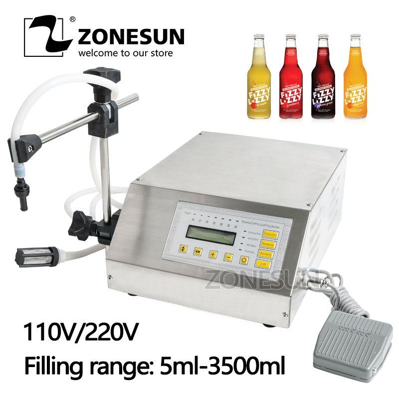 ZONESUN (5-3500ml) Accuracy Digital Liquid Filling Machine LCD Display Perfume Drink Water Juice Milk Filling Machine