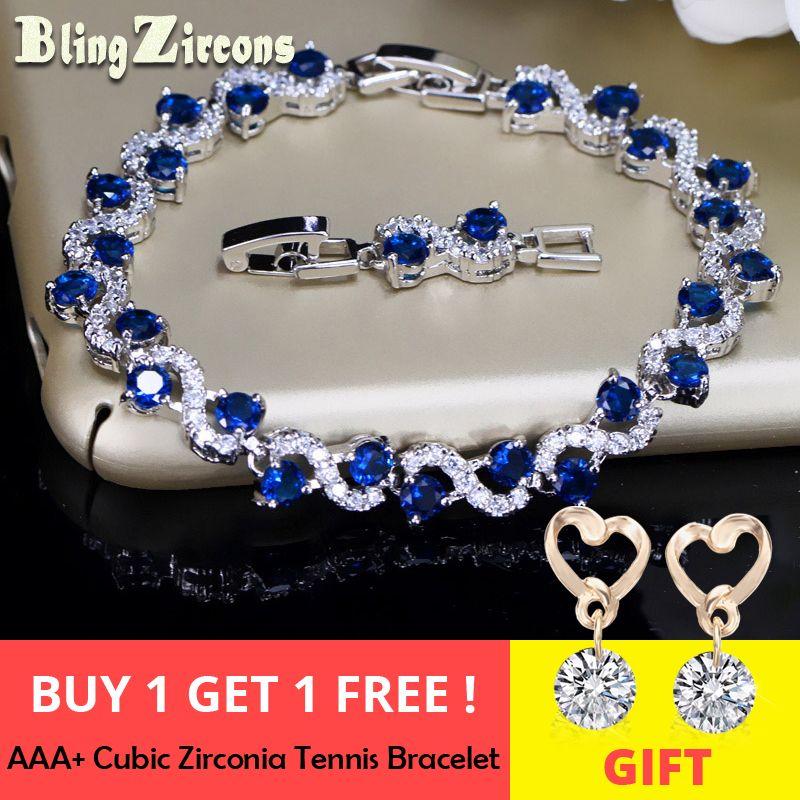 BlingZircons Charme bleu foncé Cristal Femmes De Tennis Bracelets avec zircone cubique Pierre 925 Bijoux En Argent Sterling B016