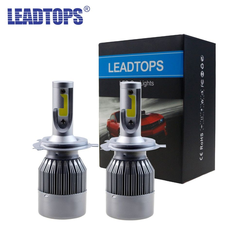 Leadtops удара H11 H3 светодиодный H7 Фары все в одном автомобиле светодиодный H4 H1 H8 9003 Фары для автомобиля лампы фара туман свет чистый 60 Вт белый ...