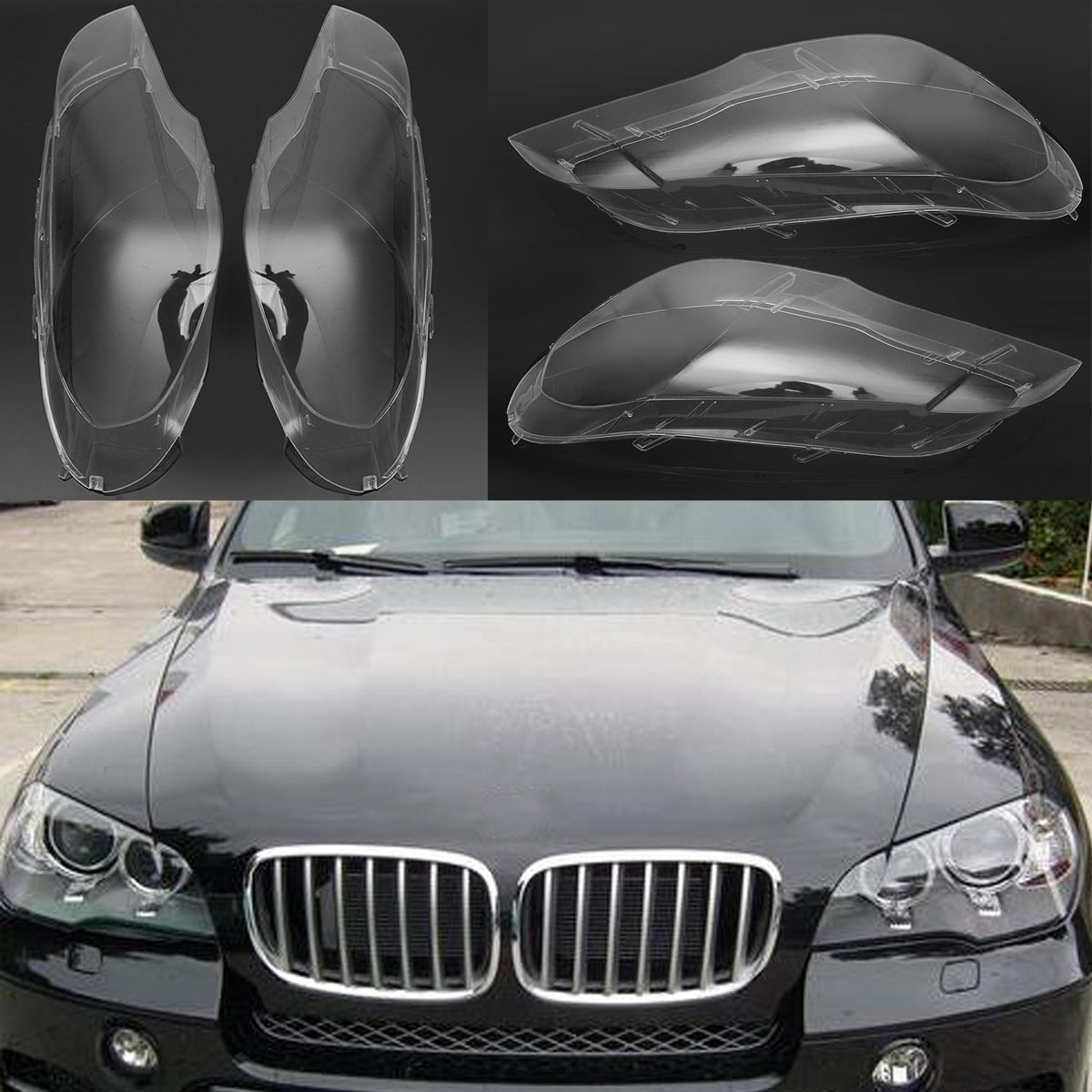 2Pcs Car Left &Right Headlamp Shell Headlight Lens Replacement Cover for BMW 2007-2012 X5 E70 Car Lights Headlight Lamp Case