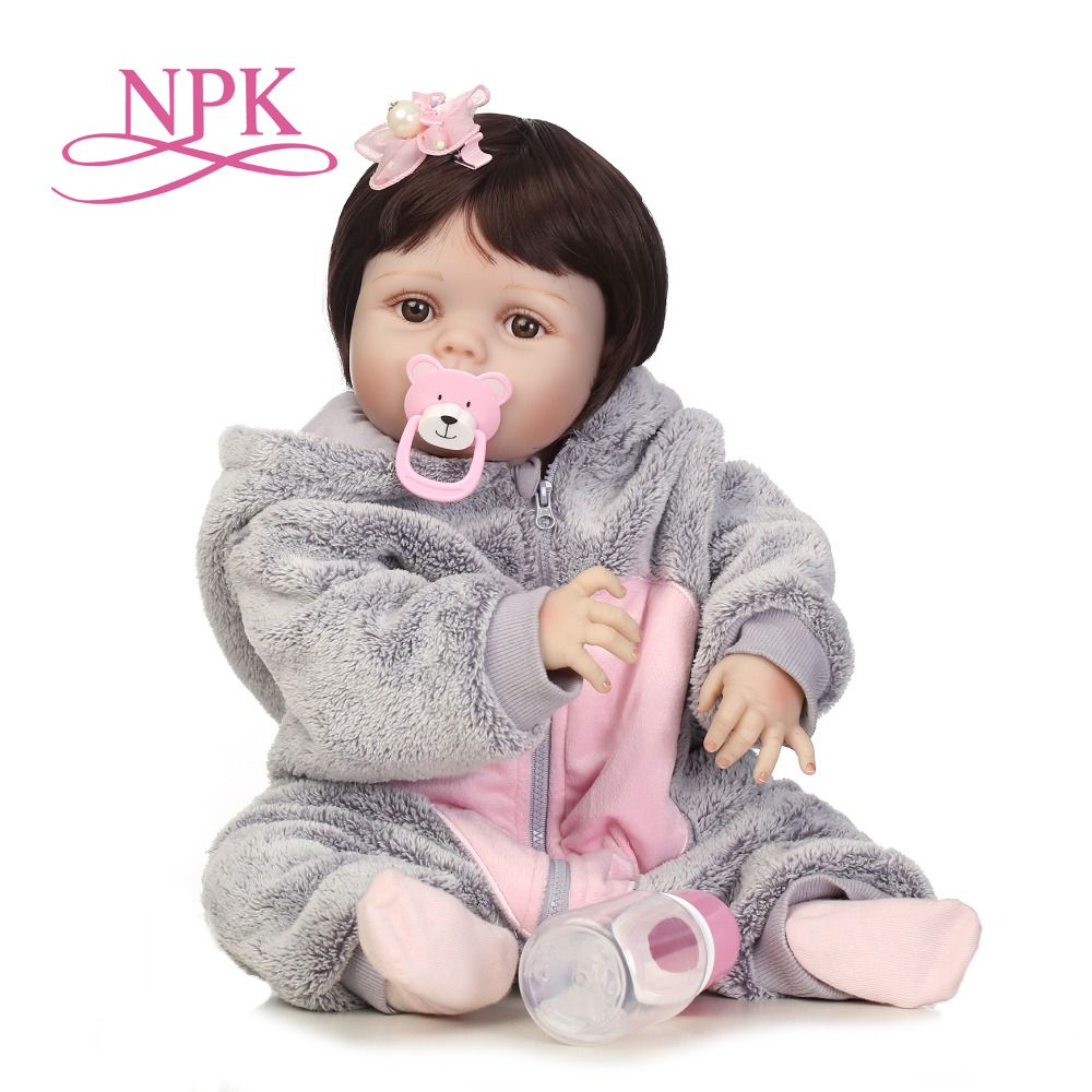 NPK 56cm realistic bebe bonecas full silicone baby girl with lovely stress best kids gift silicone reborn baby dolls