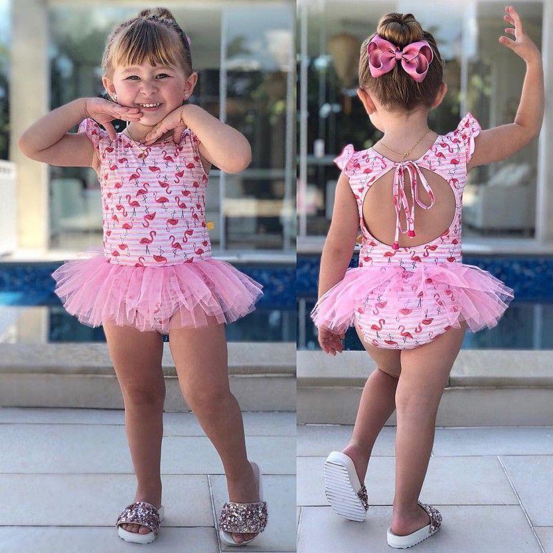 Newborn Kids Baby Girls Summer Swim Clothes Baby Girls Toddler Cute Pink Swimsuit A19