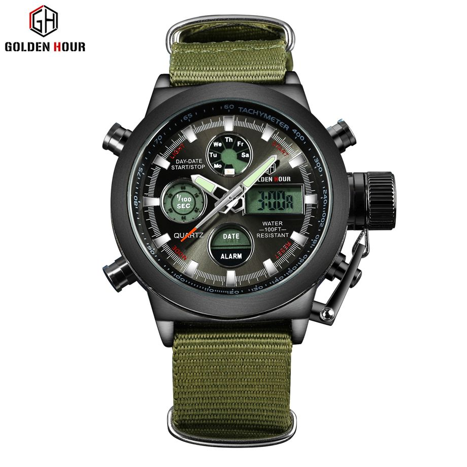 Fashion Army Cool Men Military Watch Canvas Strap Hours Steel Case 3 ATM Waterproof Sports LED Digital Analog Quartz Clock