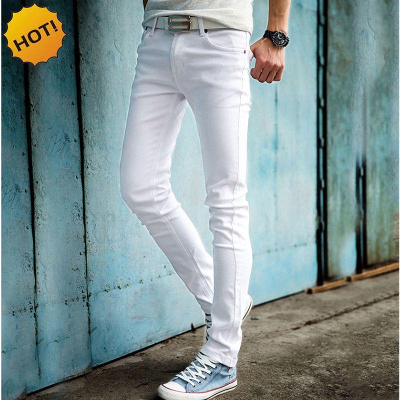 HOT 2019 mode décontracté couleur blanche Skinny hommes Hip Hop crayon pantalon adolescents étudiants garçons décontracté Slim Fit à revers jeans 27-34