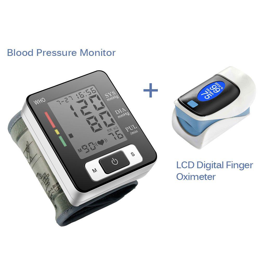 Tensiomètre de poignet numérique sphygmomanomètre automatique Portable tensiomètre et oxymètre de doigt numérique OLED