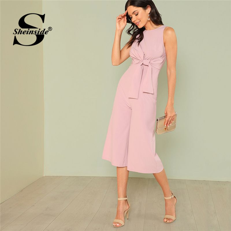Sheinside Knot Front Pink Jumpsuit Women Sleeveless Solid Mid Waist <font><b>Wide</b></font> Leg Jumpsuit Ladies Summer Workwear Elegant Jumpsuit