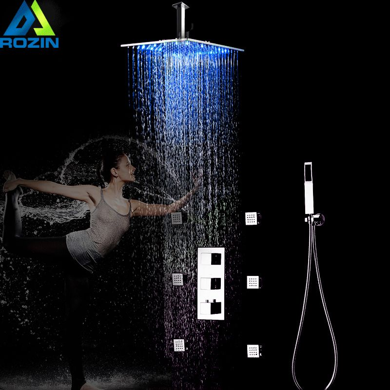 Chrome Thermostatic LED Shower Faucets 12