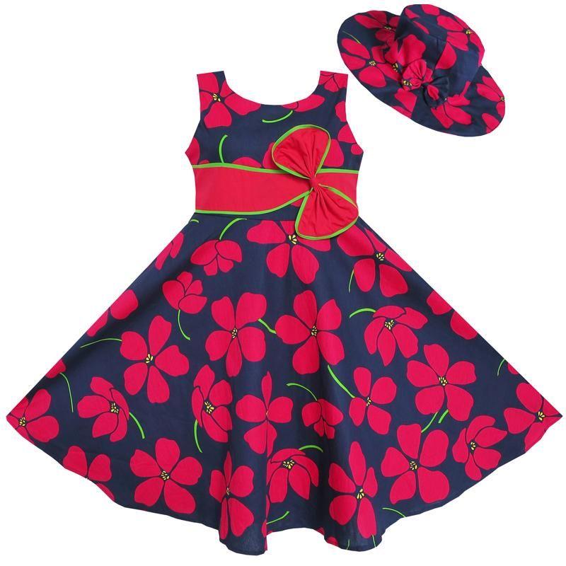 Sunny Fashion Robe Fille 2 Pecs Chapeau de soleil Nœud papillon Fleur Été Plage Des gamins Vêtements