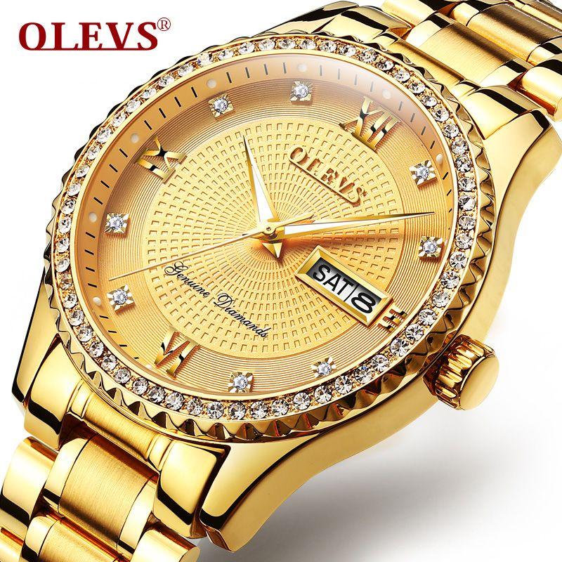 Genuino OLEV hombres oro relojes de cuarzo diamante reloj auto Calendarios pantalla completo hombres reloj de acero Relogio Masculino
