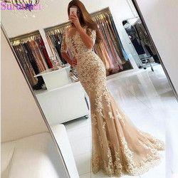 Champagner Spitze Tüll Meerjungfrau Halbarm Sexy Backless Prom Kleid Illusion Sheer Scoop Abendkleid Kleid Abendkleider 2018