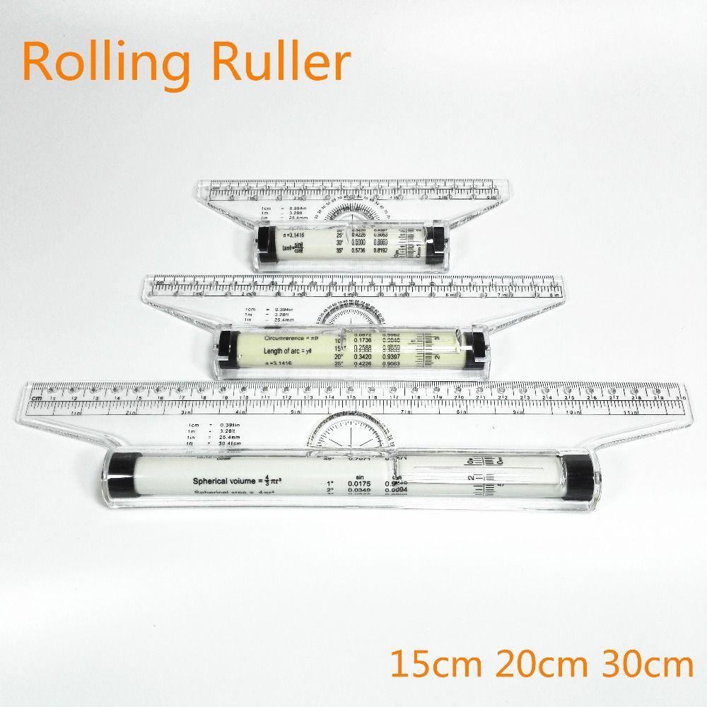 Règle de rouleau règles parallèles 15/20/30 cm règle universelle d'angle de pied équilibrage échelle dessin Reglas règle de roulement polyvalente