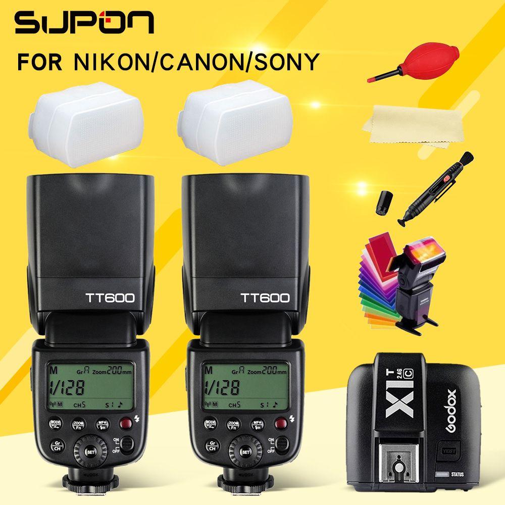 2 pièces Godox TT600 TT600S 2.4G caméra sans fil 1 flash + X1T-N/C/S/F/O Émetteur pour Nikon Canon Sony Fuji Olympus