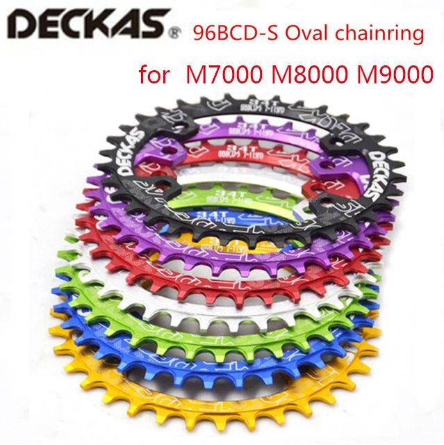Deckas plateau ovale vtt VTT anneau de chaîne de vélo BCD 96mm 32/34/36/38 T plaque 96bcd pour 7-11 vitesse M7000 M8000 M9000