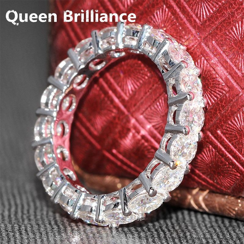 Queen Brilliance Luxury 4.5 Ct 4mm F Color Engagement Band Wedding Moissanite Diamond Band For Women Solid 14K 585 White Gold