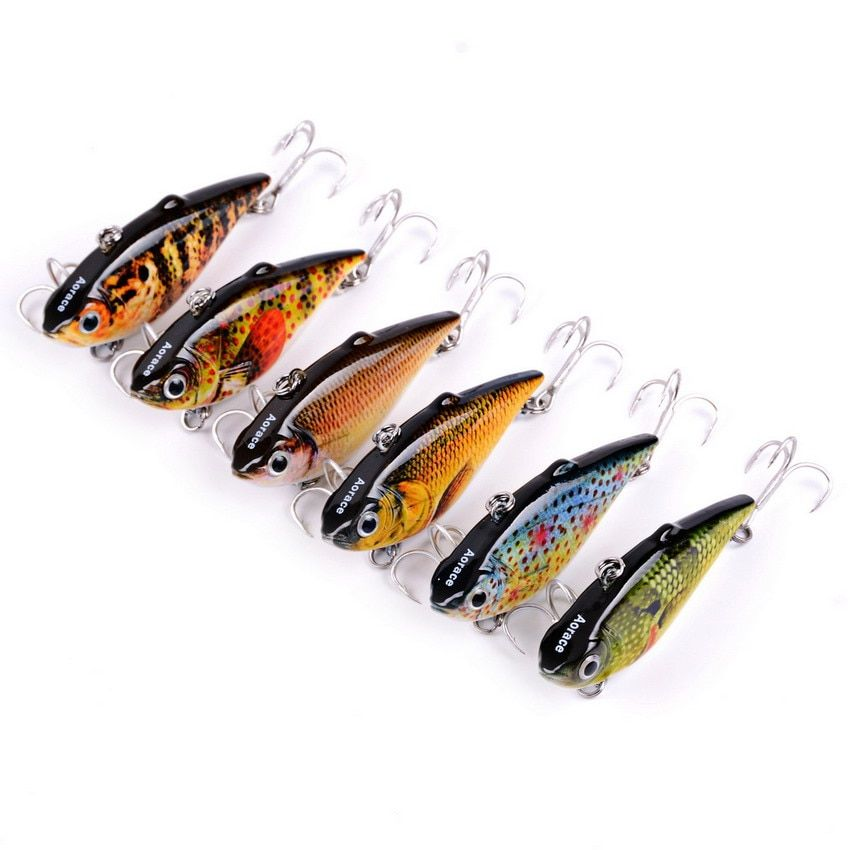 AOrace 6.4CM 8.6G colored Painted VIB Rattlin Full Water Area Super Lifelike Fishing Gear 8# Fish Hooks Lures