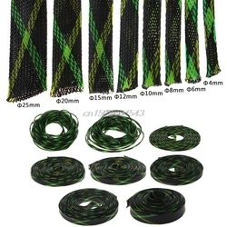 5 M 4/6/8/10/12/15/20/25mm Extensible PET tressé Câble Fil Gaines Gaine Noir + Jaune + Vert R07 Drop ship
