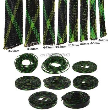 5 M 4/6/8/10/12/15/20/25mm Extensible PET tressé Câble Fil Gaines Gaine Noir + Jaune + Vert R07 Drop ship