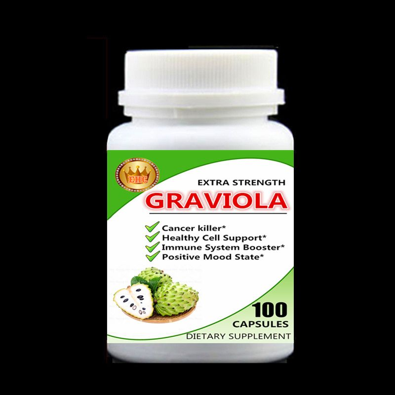 Cancel Killer,Graviola Extract,Healthy Cell Support,Immune System Booster,Positive Mood State,Soursop,Guanabana - 100pcs/bottle