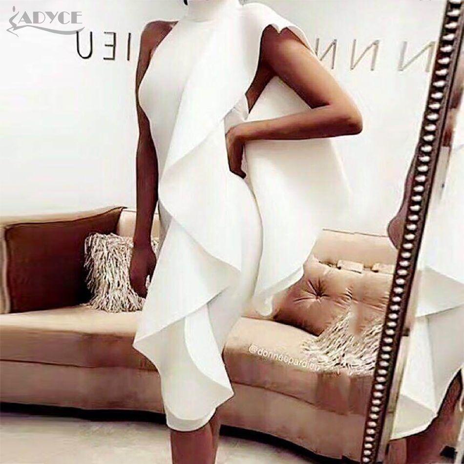 Adyce 2019 New Summer Blanc Femmes Celebrity tenue de fête Sexy Vin Rouge Sans Manches Patchwork Ruches Moulante robes de club Robes