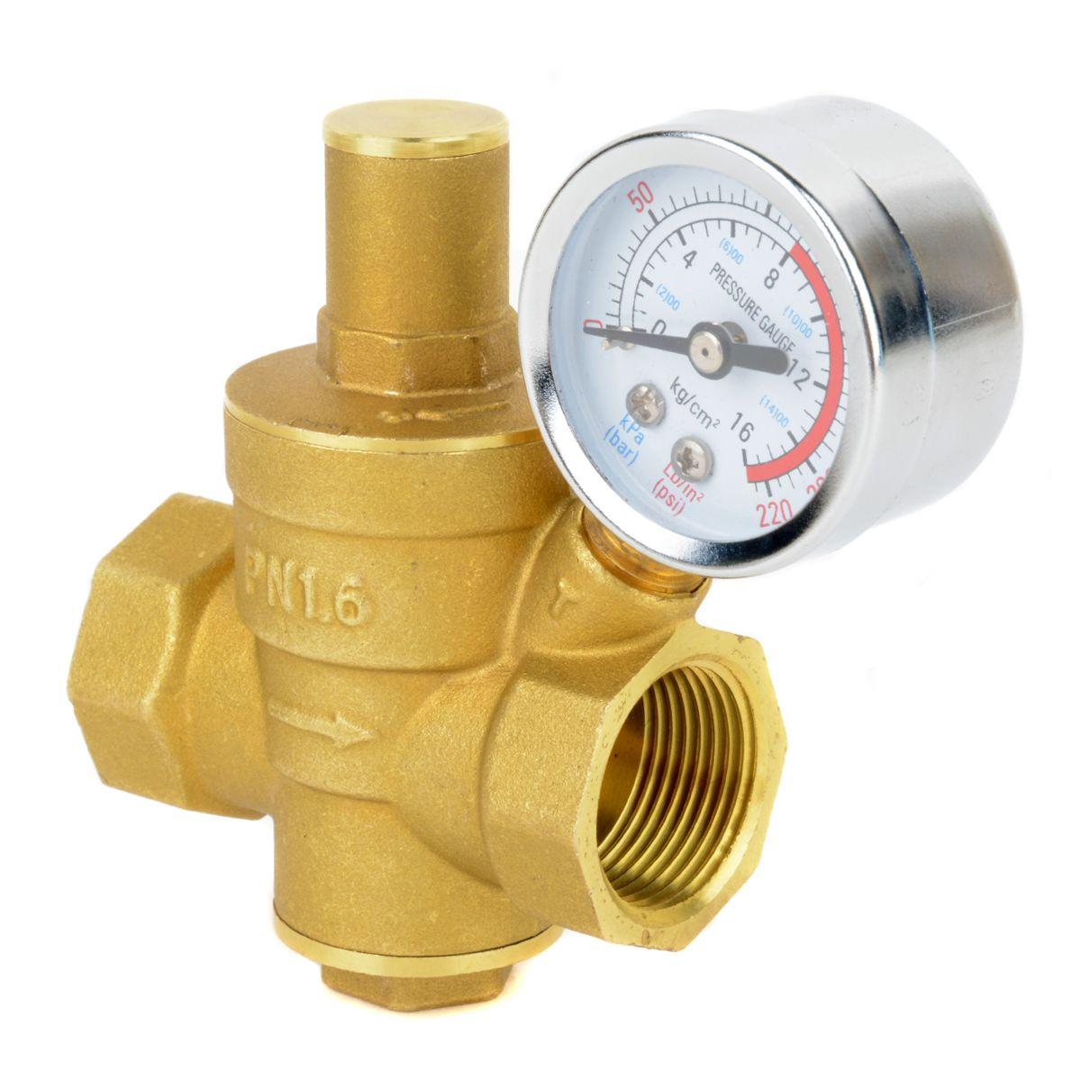 DN20 3/4 Brass Water Pressure Reducing Maintaining Valves Regulator Mayitr Adjustable Relief Valves With Gauge Meter 85*63mm