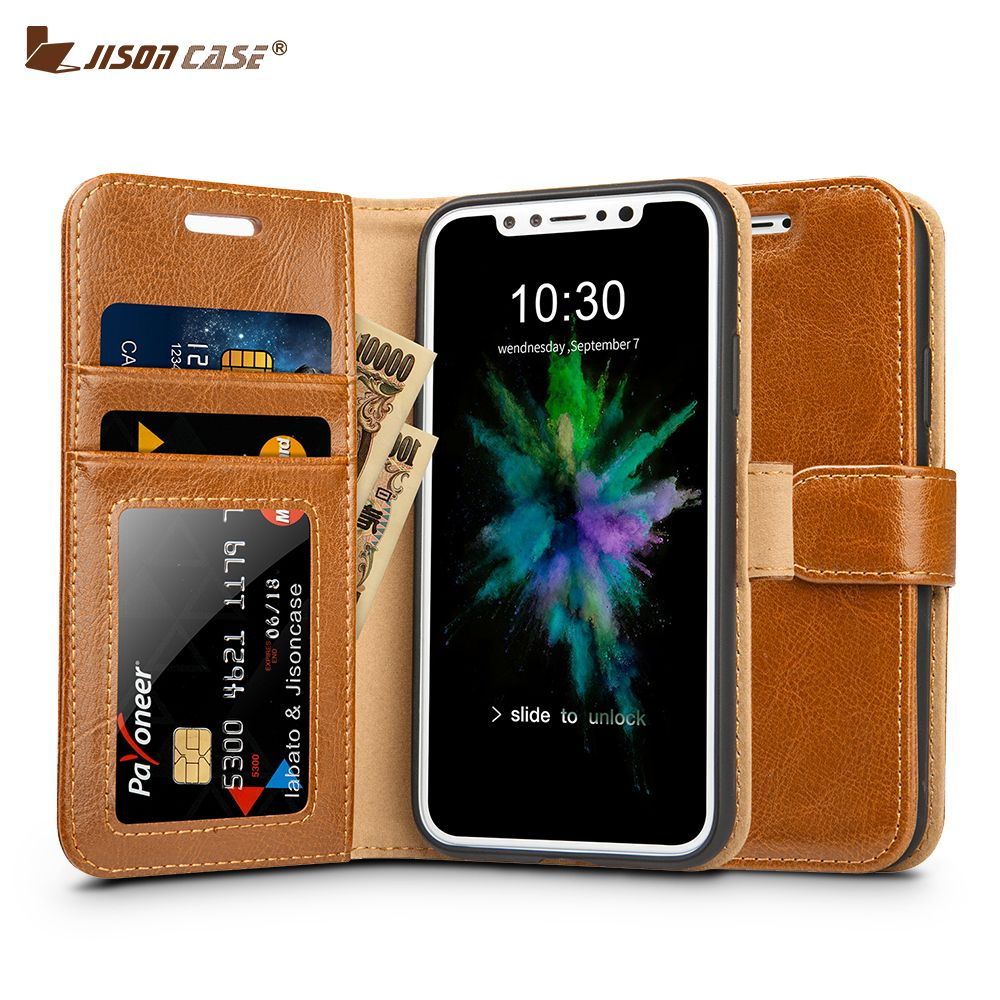 Jisoncase for iPhone X Wallet Case Cover Genuine Leather Luxury Magnetic Flip Folio Covers for iPhone X Cases with Card Slots