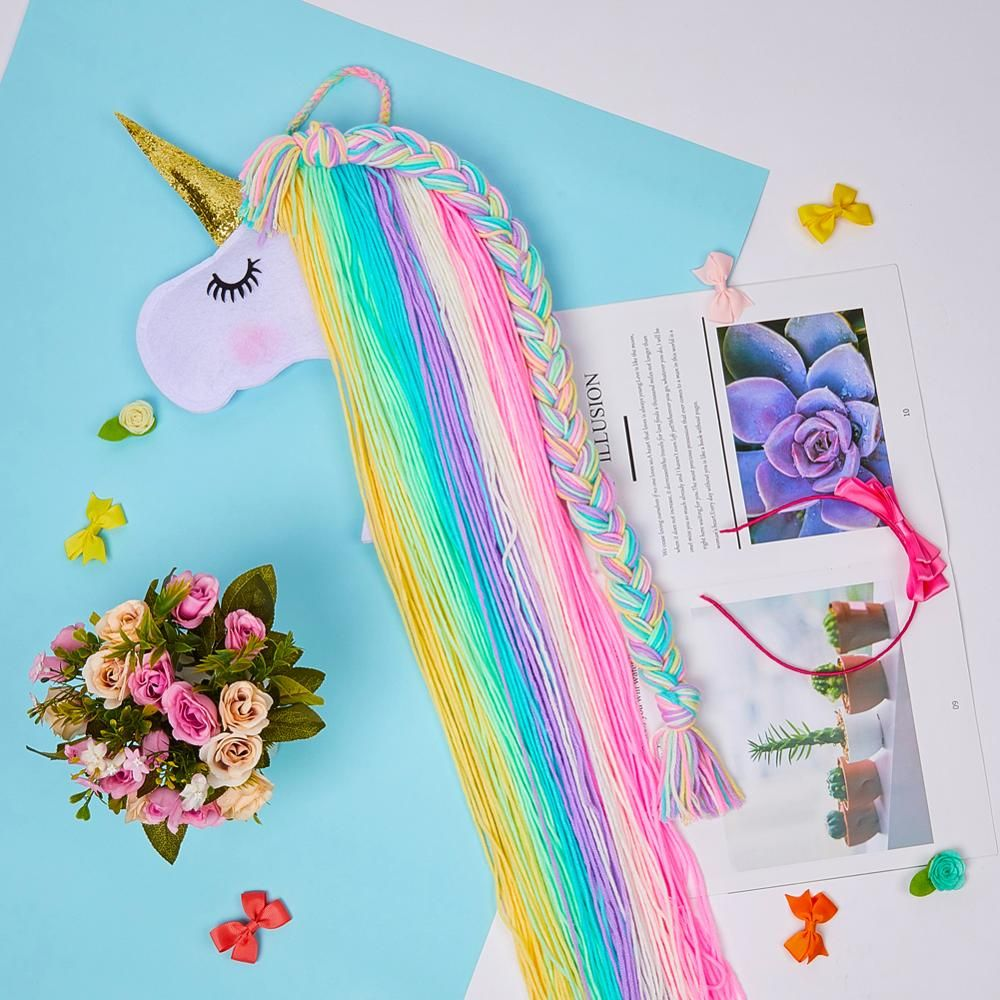 1pc Cute Clips Organizer Hair Clip Unicorn Storage Kids Girls Supplies Colorful Hanger Hanging Wall Headwear Organizing Strip