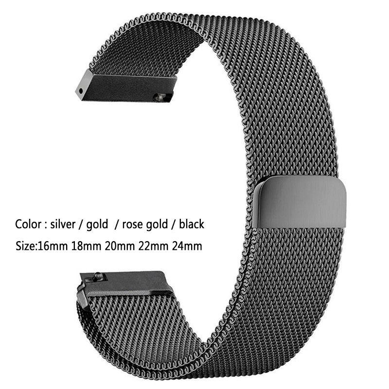 Mesh Milanese Loop Watchbands 16mm 18mm 20mm 22mm 24mm Silver Rose Gold Black Bracelet Wrist Watch Band Strap Magnetic Closure