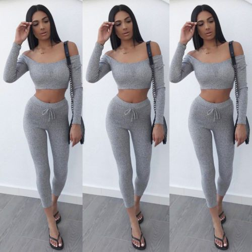 Hot Women Long Sleeve Off Shoulder Gray Sweatshirt+Pants 2PCS Set Size S to XL