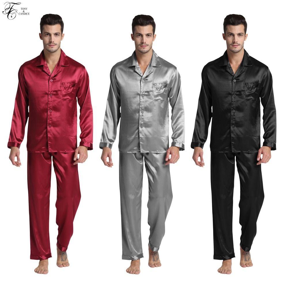 TONY & candice Для Мужчин's пятен Шелковый пижамный комплект пижамы Для мужчин пижамы современные Стиль шелковой ночной рубашке Для мужчин Атлас м...