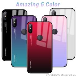 Gradien Aurora Mi A2 Lite Tempered Glass Case untuk Xiaomi Mi A1 8 Mi 8 Se Mi 6 6x 5x Redmi 6 Pro Mi X 2 2 S Note 3 Xio Xio Cover Case