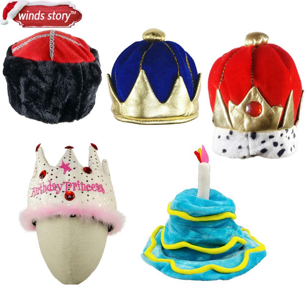 NOUVEAU 1 pcs Garçons Roi Couronne Enfants En Peluche Costume Chapeau Royal Robe Up Rois Halloween Party d'anniversaire carnaval capuchon Décoratif chapeau