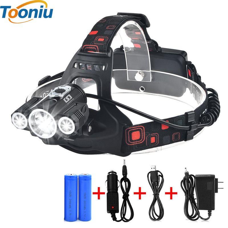 Tête Lampe 3x T6 3 Lampes 4 Dimmable Mode Étanche 6000 Lumens LED Projecteur lampe de Poche De Voiture-chargeur Rechargeable Batterie projecteur