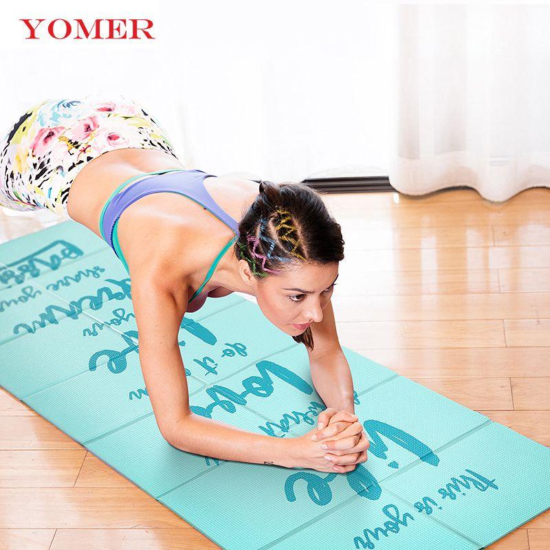 YOMER 5mm PVC Nicht-slip Faltbare Yoga Matten Für Fitness Schlank Yoga Gym Übung Matten Im Freien Pads Fitness matte Einfach Tragen